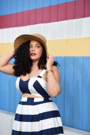 stripe cut dress sun hat
