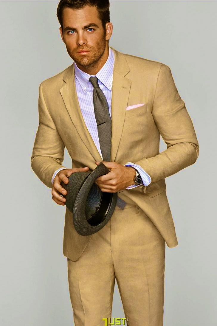 Tan suit Chris Pine  Dapper  Pinterest  Tan suits The groom and The ojays