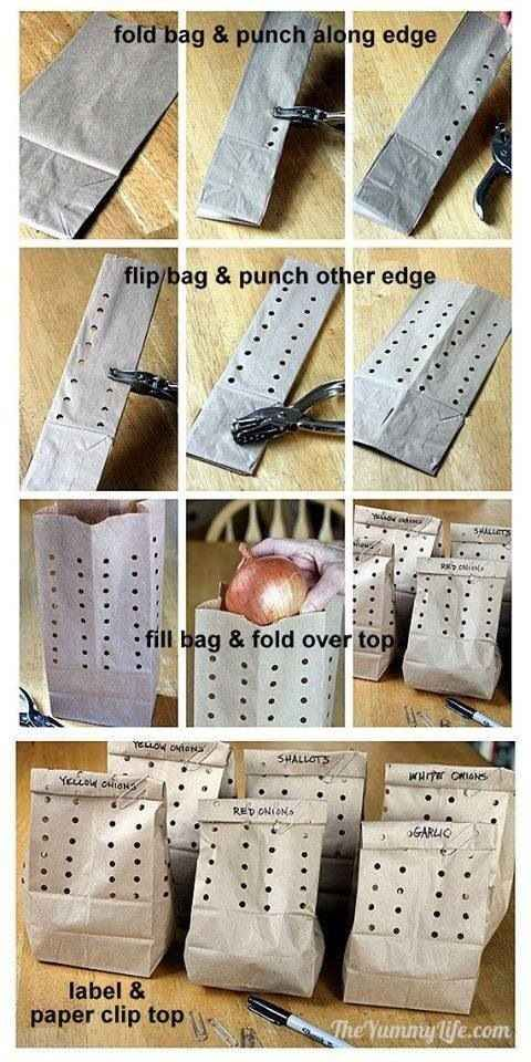 Store onions, garlic, and shallots in a paper bag punched with holes. | 34 Ways To Make Your Stuff Last As Long As Possible