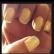 yellow glitter nails dress