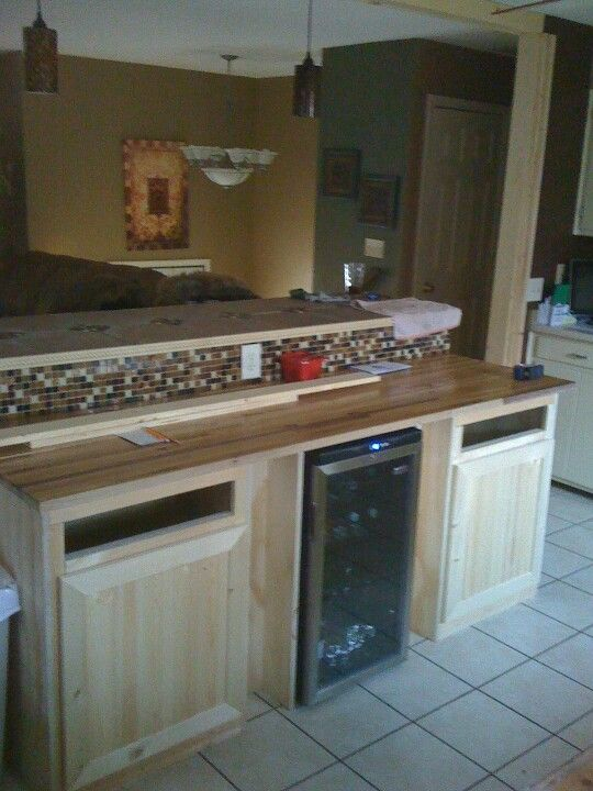 Custom Built 2 tier kitchen island with butcher black and