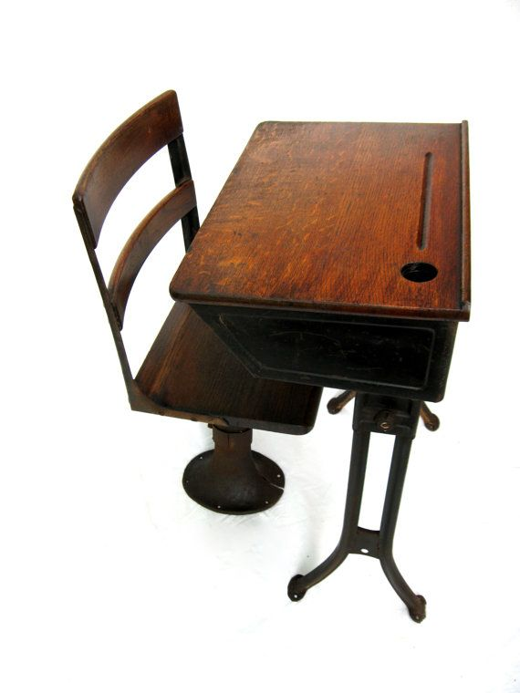 Antique School Desk Childs Desk with Separate Chair