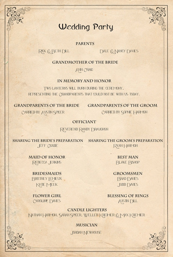 Retro Wedding Program  Order of service ceremony reception vintage manifesto  Of Ceremony and