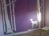 My daughters woodland themed bedroom feature wall ...