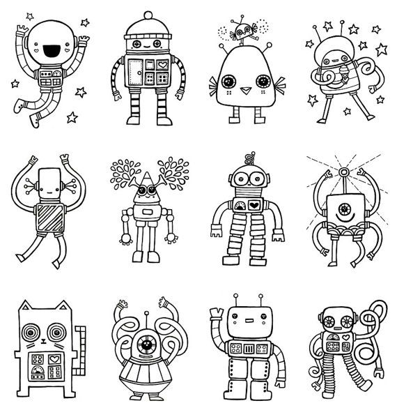 robots to color, robot ideas for create your own robot