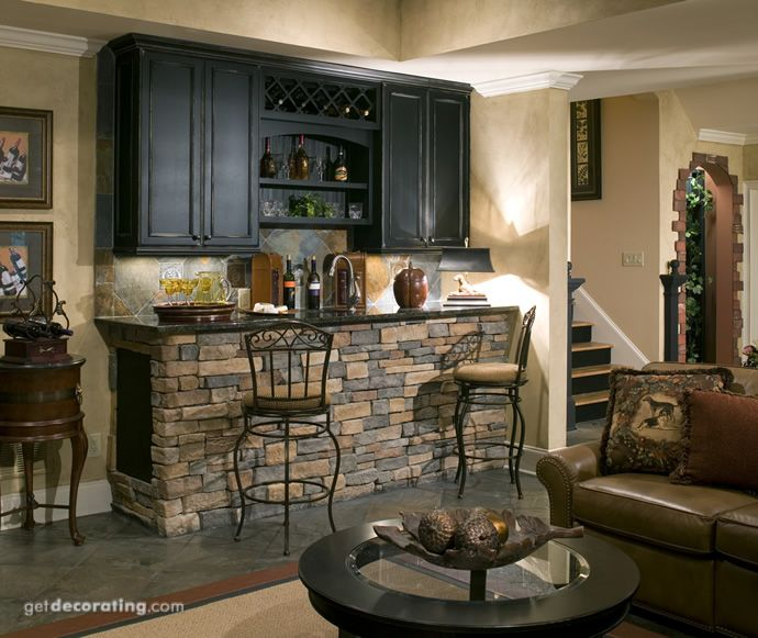 We are thinking of ideas on finishing the game room in the basement LOVED this bar area