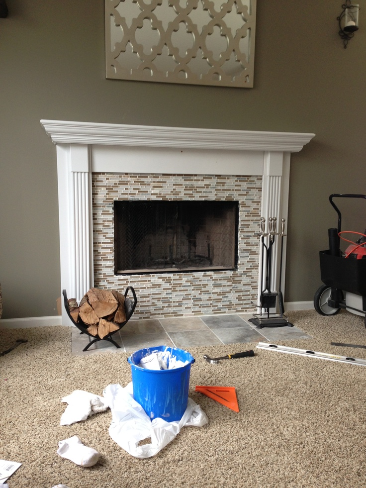 DIY fireplace mantel with mosaic tile  Basement ideas  Pinterest  Diy Fireplace Mantel Diy
