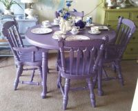 Purple Antique Shabby Chic Mahogany Dining Table & Chairs ...