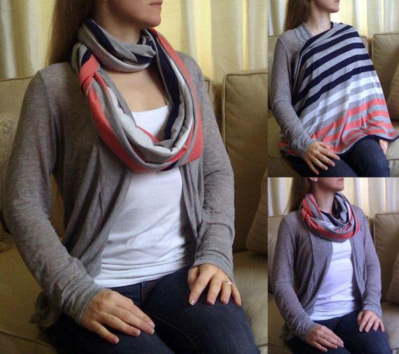 SHIPS NOW  Nursing Scarf  Infinity Scarf  Nursing Cover  Coral White Navy Blue  Gray