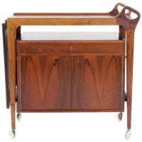 Danish Rosewood Bar Cart by Arne Vodder. Leather