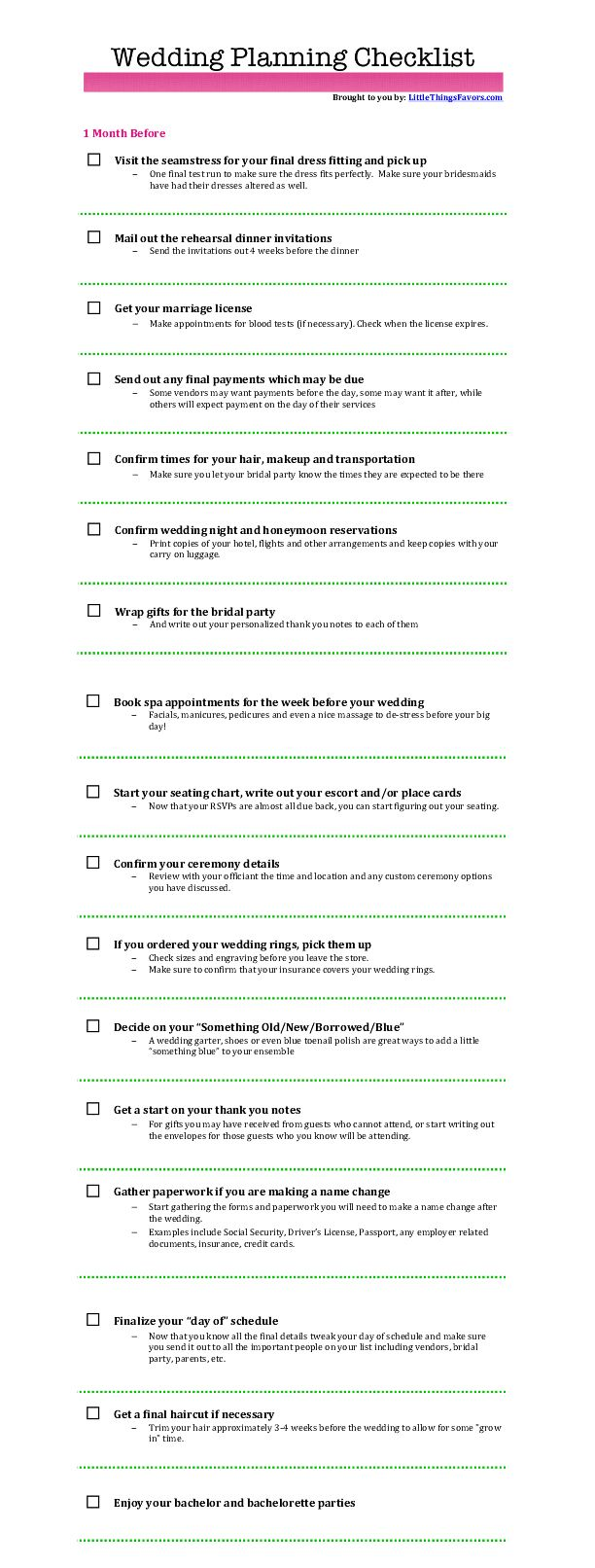 free printable wedding planning checklist 1 month before