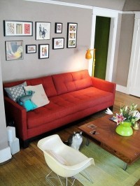 Red sofa/grey walls/turquoise and apple green accents ...