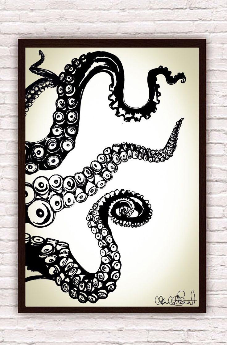 Octopus Wall Art. Beach Art Coastal Prints Giclee Art