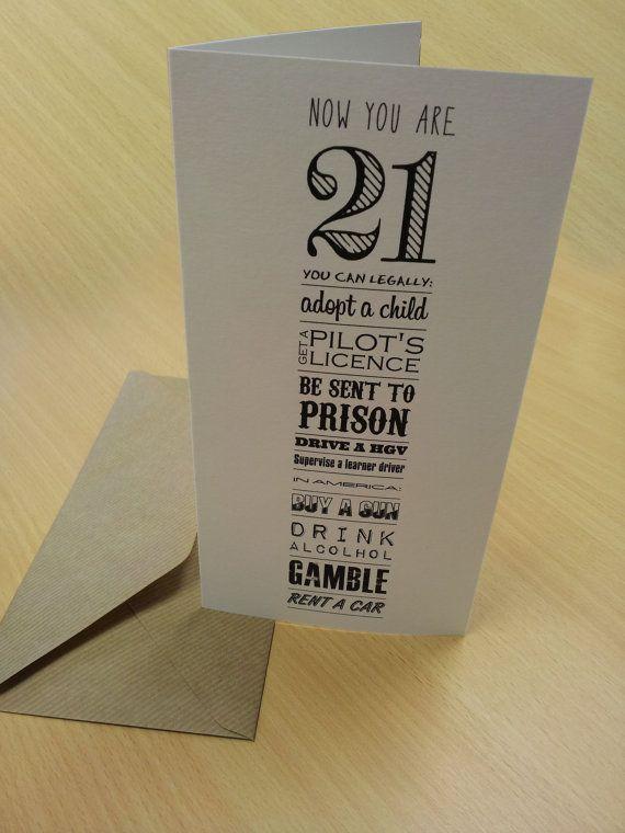21st Birthday Card 'Now You're 21' Typography Birthdays