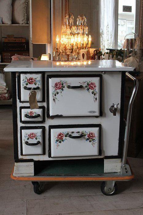 Estufa de lea horno de gama de esmalte antigua British
