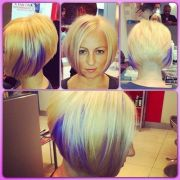 inverted bob with purple style