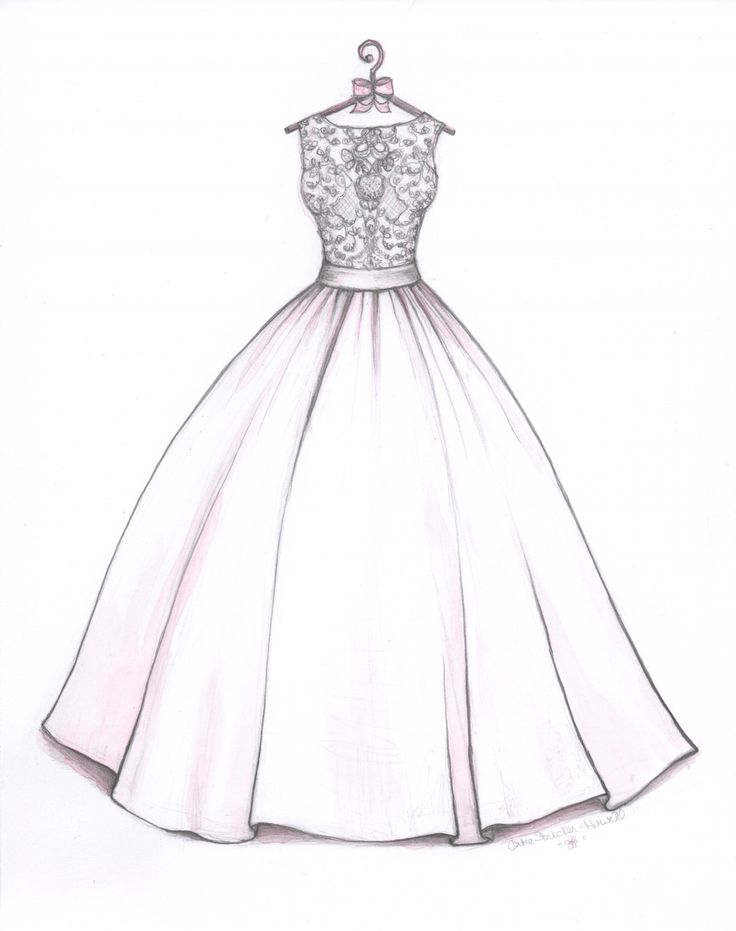 Ball Gown wedding dress sketch by Catie Stricker-Howell