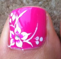 hot pink hawaiian flower nail art with tree dots on the ...