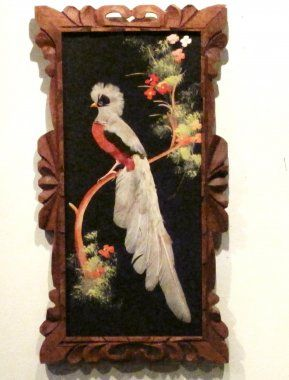 mexico feather art vintage 1940  Vintage Bird God Feather