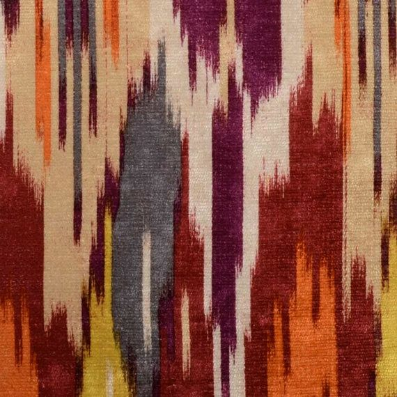 Red Grey Velvet Upholstery Fabric  Abstract Purple Fabric