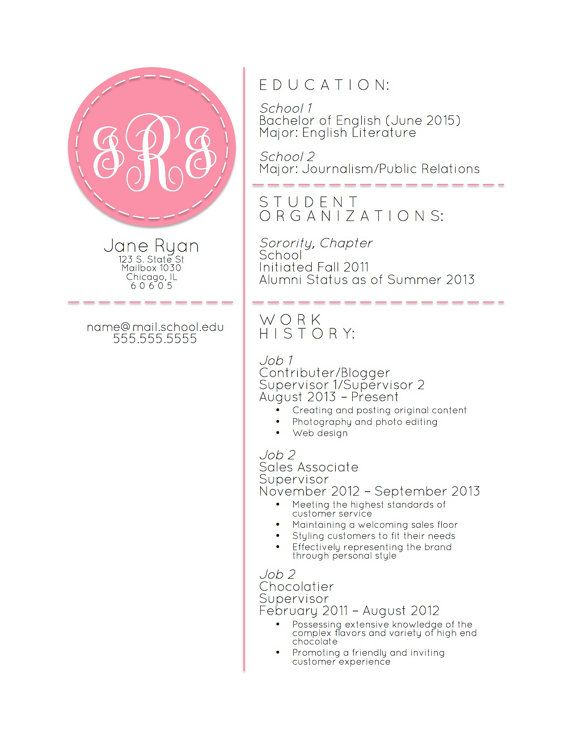 Monogrammed Resumé Template Microsoft Word By