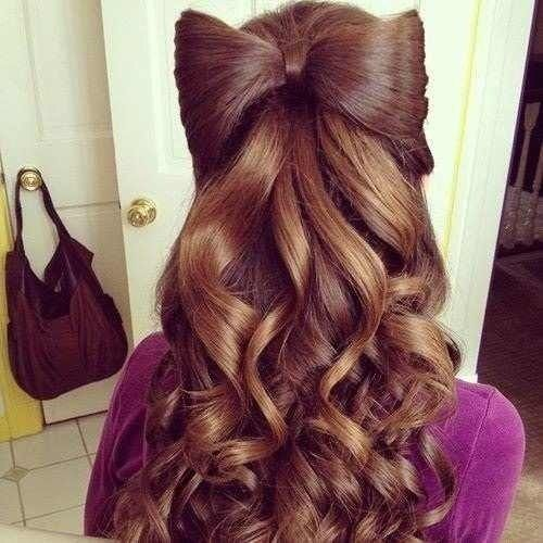 Bow Hairstyle With Curls For A Quinceanera Event Hairstyles
