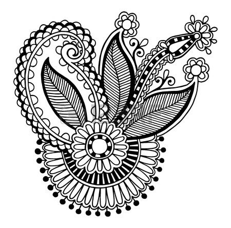 la línea de arte negro de flores ornamentales colección de