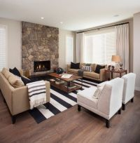 White and Black Rugs in Contemporary Living Room to tie ...