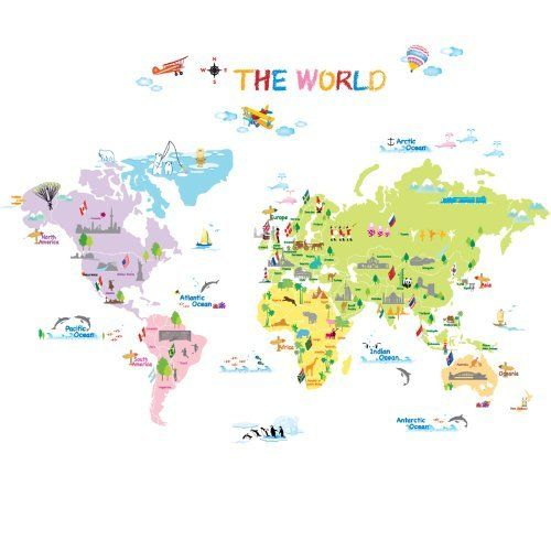 Map Of The World Kids Wall Sticker