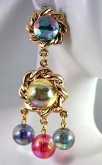 Vintage Couture Lucite Bauble Dangle Chandelier Clip ...