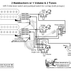 Les Paul Wiring Diagram Coil Tap Ac Disconnect 2 Humbuckers/3-way Lever Switch/1 Volume/2 Tones/coil | School Stuff Pinterest Products ...