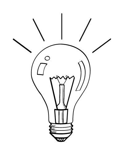 Printable light bulb coloring page. Free PDF download at
