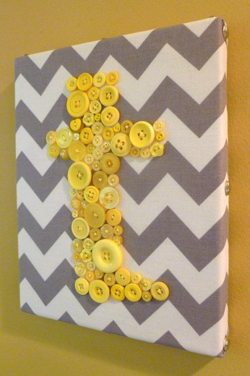 Grey and yellow button art!