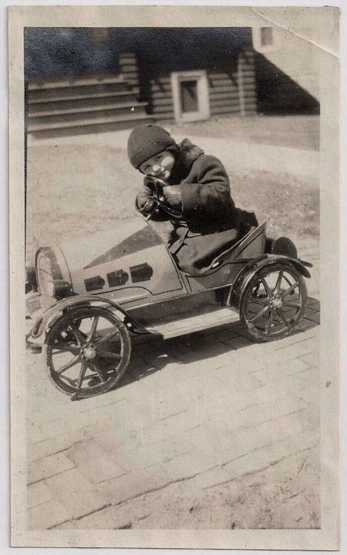 kids car barber chair folding patio 1920's little boy in pedal car. | planes, trains, and automobiles pinterest cars, boys ...