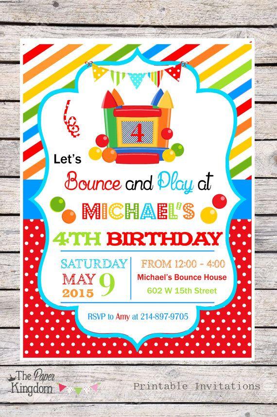 bounce house birthday party ideas, Birthday invitations