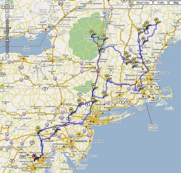 New England road trip mapsuggested routes Repinned by