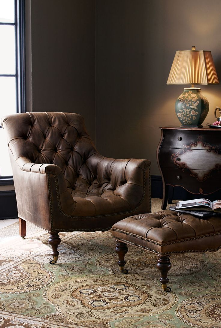 Old Hickory Tannery Tufted Leather Chair  Ottoman  HOME