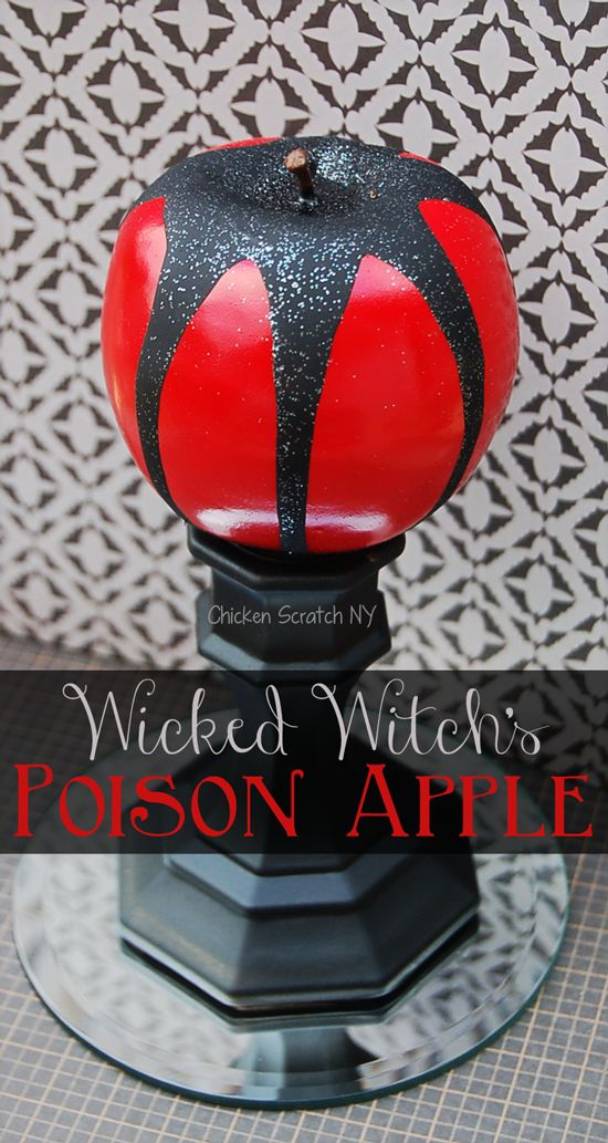 Make a DIY poison apple to decorate your Halloween table from Dollar store finds and a few basic craft supplies