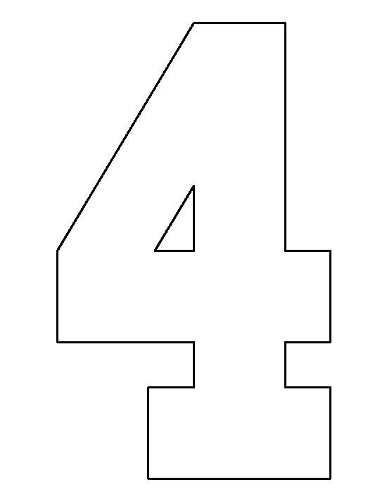 Number 4 pattern. Use the printable outline for crafts