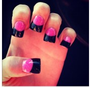 pink and black french tip nails