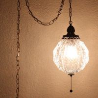 Vintage hanging light - hanging lamp - glass globe - chain ...