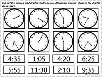 Cut and paste, Digital clocks and Activities on Pinterest