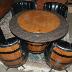 Retro Kitchen Table And Chairs Set Breakfast Vintage Whiskey Barrel Dinette Card By ...