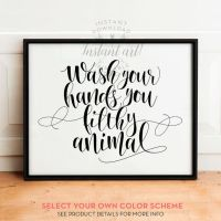 Wash Your Hands sign, PRINTABLE art, Bathroom prints ...