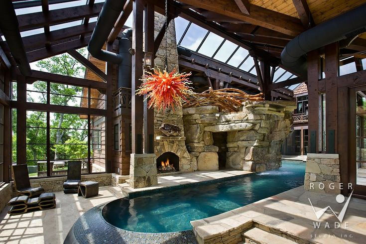 Indoor Pool Toward Fireplace, Grotto And Waterfall