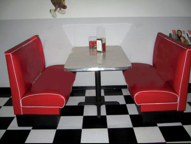 kitchen table and chairs set with booth patio cushions retro diner - new 50's style custom built for restaurant or home | 50s malt shop ...