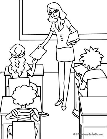Teacher distributing sheets to the pupils coloring page