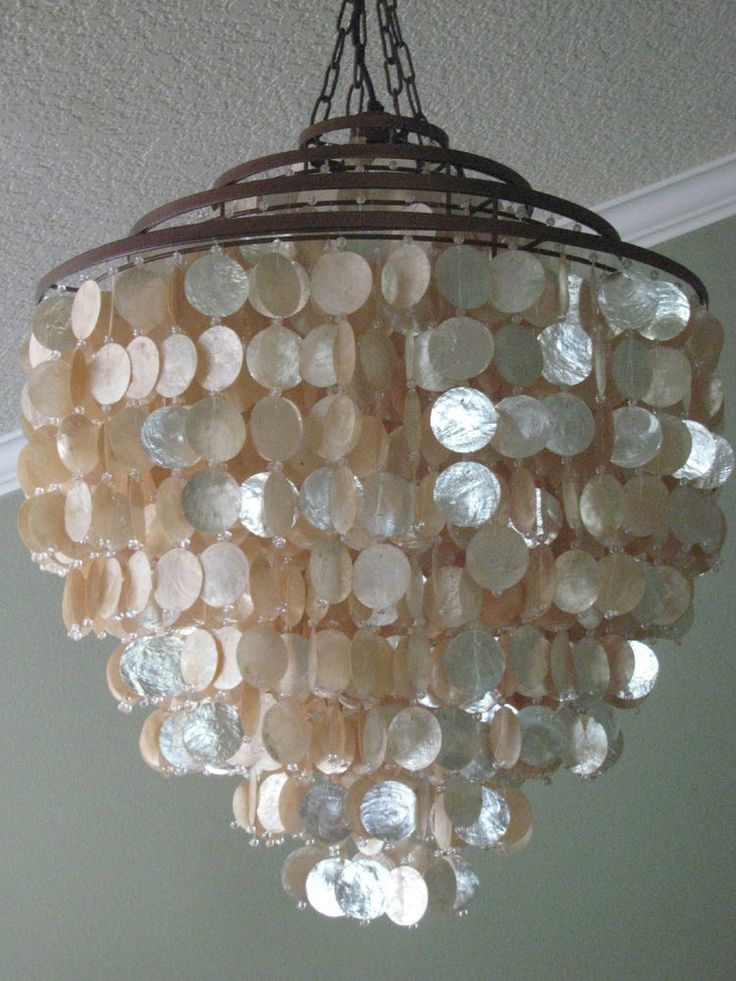 Large Capiz Shell Chandelier Home Decor