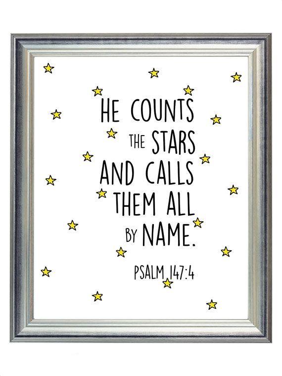 Psalm 147:4 Star Outer Space Nursery Digital Print Art, Simple Modern Baby Kid Wall Art Decor, Digital Typography | $5.00 | 8×10
