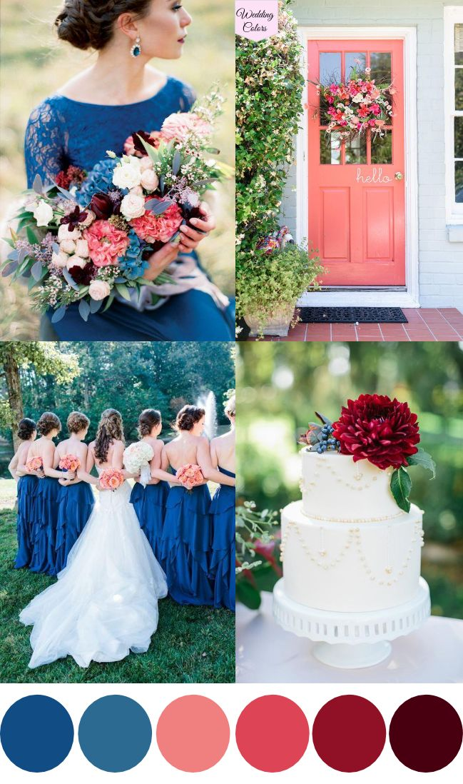 A Royal Blue Coral  Cranberry Wedding Palette  Midnight blue Wedding and Bouquets